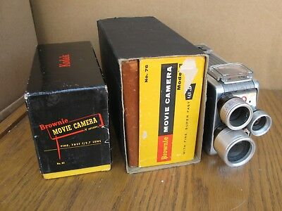 THREE Kodak Brownie Movie Camera 8mm for collection NoReserv
