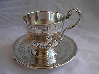 ANTIQUE FRENCH STERLING SILVER CHOCOLAT CUP & SAUCER,LATE XIXth.