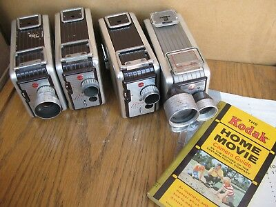 FOUR Kodak Brownie Movie Cameras 8mm for collection NoReserv