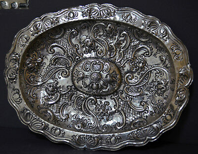 Large 18Th Century Marked Spanish Repousse Solid Silver Tray Cordoba