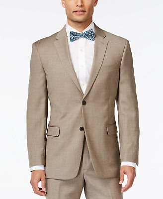 $599 TOMMY HILFIGER men BROWN 2 BUTTON FIT SUIT JACKET SPORT COAT BLAZER 36 R