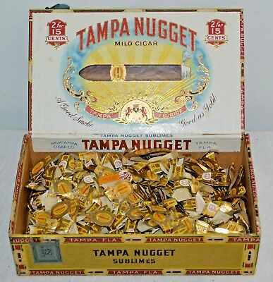 Vintage TAMPA NUGGET CIGAR BOX full of Band Labels
