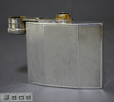 Collectible 1938 English Sterling Silver Pocket Flask Very Good Condition