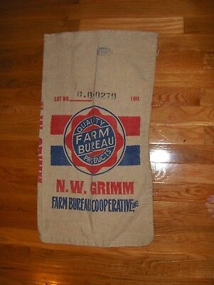 Vtg. Farm Bureau feed sack Fulton Bag St. Louis advertising craft NW Ohio