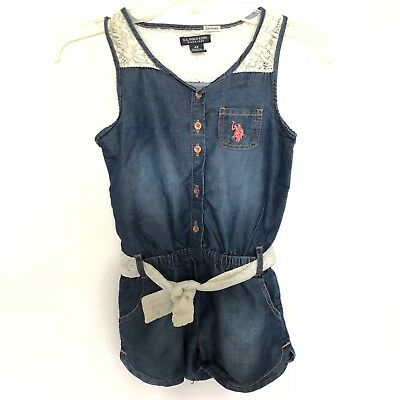 US Polo Assn. Childrens Apparel Big Girls Lace and Denim Romper Dress Size 6X