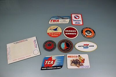 Vintage 1950's Lot Of 10 In Package Baggage Stickers. TWA NW Braniff NAL TCA #1