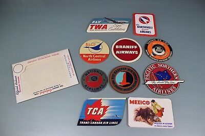 Vintage 1950's Lot Of 10 In Package Baggage Stickers. TWA NW Braniff NAL TCA #2