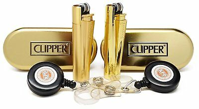 """Clipper Metal Cigarette Lighter """"Gold"""" Collection With RPD Lighter Lasso"""