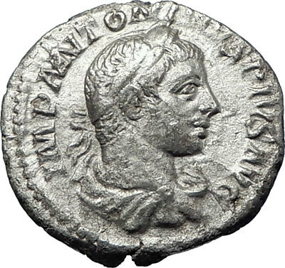 ELAGABALUS 220AD Rome Authentic Ancient Silver Roman Coin Victory i70363