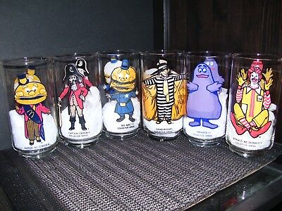 McDonald's 1977 Collector Series Complete Set of 6 Libby Drinking Glass Tumblers