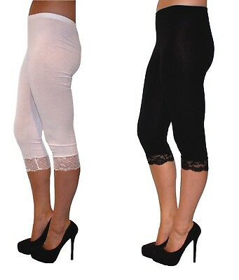 New Ladies Cropped Womens Short Black White Leggings Lace Trim 3/4 Capri Length