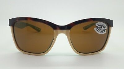 NEW Costa Del Mar sunglasses Anaa Retro Tort/Cream/Mint w/ Copper 580G tortoise