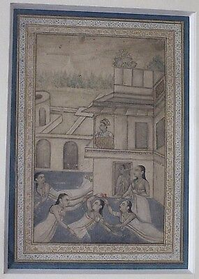 ANTIQUE INDIAN MUGHAL MINIATURE PAINTING 18th Century