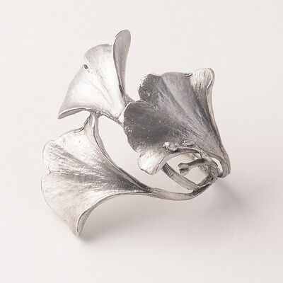 Silver Ginkgo Leaf Napkin Rings - Michael Michaud Table Art - Gingko / Ginko