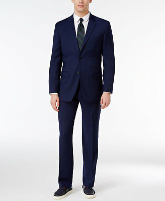$700 TOMMY HILFIGER men BLUE FIT SLIM FIT WOOL SUIT BLAZER JACKET COAT PANTS 42S