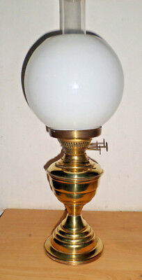 Vintage Antique  Duplex Oil Lamp With White Glass Shade And Glass Chimney