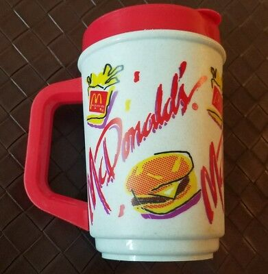 Vintage 1992 McDonald's Travel Mug Coffee Cup Thermos VTG Burger Fries Logo 90s