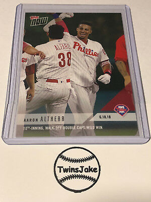 2018 Topps NOW MLB 340 Aaron Altherr 10th-Inning, Walk-Off Double Caps Wild Win