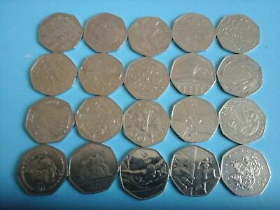 JOB LOT OF 20 RARE  BRITISH 50P PENCE COINS collectible Add to your collection
