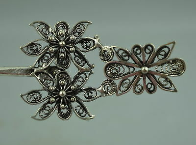 Collectibles Decor Handwork Miao Silver vintage Delicate Flower Rare Old Hairpin