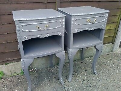 Beautiful vintage pair of French Louis style bedside cabinets / tables in grey