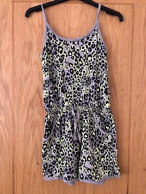 Kids summer playsuit, bright leopard print style, age 13