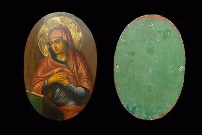 Russian Icon - Virgin Mary From The Annunciation 18th Century Antique