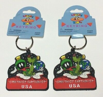 (2) LOONEY TUNES~1996 Monogram Products~Key Chain Ring~Marvin the Martian~NEW