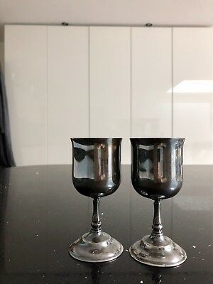 2x vintage silver plated goblets