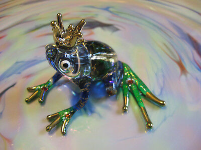 """Lampwork Glass Handpainted Frog Prince W/Gold Crown 2.5"""" x 2.5"""""""