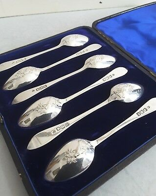 Quality Cased Set 6 Picture Back- Dove Ant. Solid Silver Tea-Spoons.  Lon.1897.