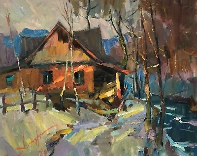 IMPRESSIONIST Art ORIGINAL Oil Painting River Nature Old house Rural Landscape
