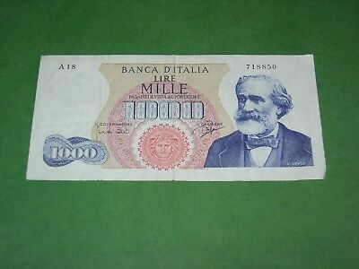 ITALY 1000 LIRE P-96b 1963 CIRCULATED CONDITION
