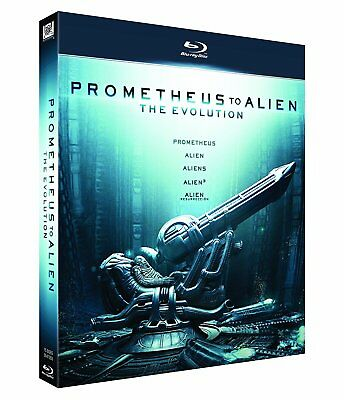 Pack Alien Completo Cofre  Evolution From Prometheus To Alien Blu Ray  5 Blu Ray