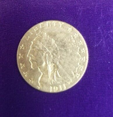 1911 $2 1/2 Indian Head Gold Coin