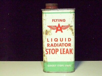"""Vintage- Original 1950's Flying """"A"""" Radiator Stop Leak Can - Rare / Empty"""