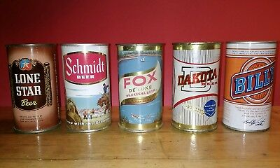Lot of 5 Old Beer Cans - 3 Flat Tops & 2 Pull Tab types