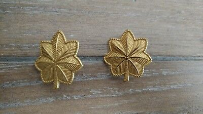 Vintage WWII Korea Era Matching Pair US Army Oak Leaf Rank Insignia Major