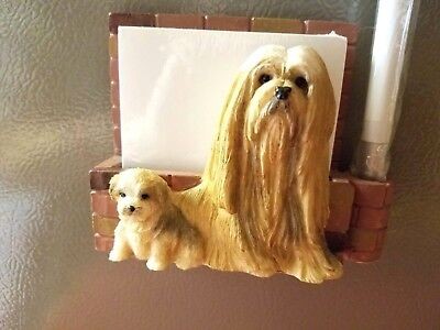 New! Lhasa Apso .Note Pad/Pen holder. Magnet on Back