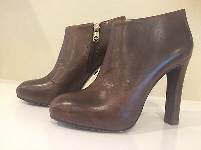 3917b59e62ed44 TORY BURCH DARK Brown Leather Platform Ankle Boots Size 6M 110mm ...