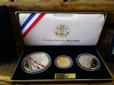 Five Dollar Gold & Silver Dollar Proof Coins 1994 US Mint World Cup USA 3 Coins