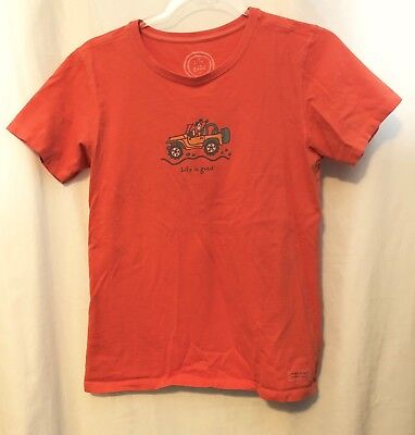 """Life Is Good Women's Orange Tee Classic Fit """"Jackie in Jeep"""" T-shirt Size: Small"""