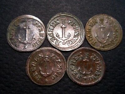 LOT of 5pcs. Very Rare JOHANN JACOB LAUER Bronze TOKENS-Rechenpfenning, 1800s.+