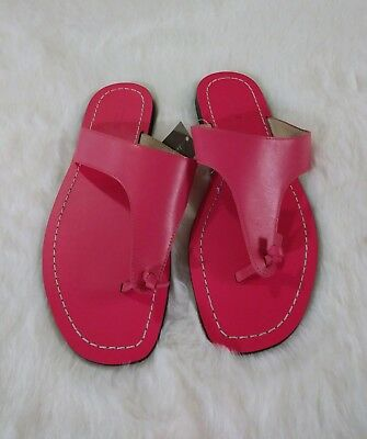 03961303d1475 J.Crew Leather Playa Thong Slip On Sandals Size 9 Bright Poppy Item G2141  NWT