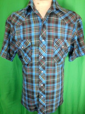 Vintage Blue Plaid Short Sleeve Wrangler Poly/Cotton Western Shirt Pearl Snaps M