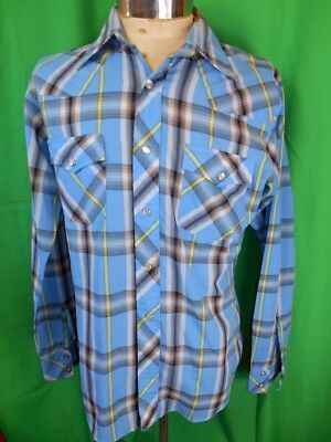 Vintage 70s Blue Plaid Poly/Cotton Target Long Sleeve Western Cowboy Shirt M