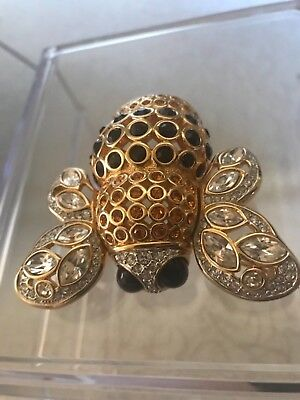 Vtg Swarovski  Authentic Bee Signed Crystal Gold Pave' Pin Brooch Rare Retired