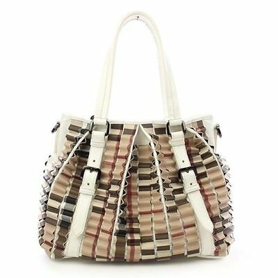 d049d611f2 BURBERRY WHITE PATENT Leather Ruffle Check Large Lowry Tote Bag ...