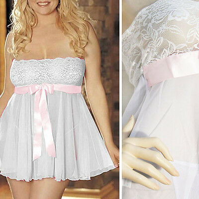 Sheer White Floral Lace Bodice Baby Pink Bow Babydoll Teddy Nightgown Lingerie