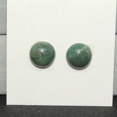 Bloodstone Cabochon 10mm with 4.5mm Dome from India set of 2 (13815)
